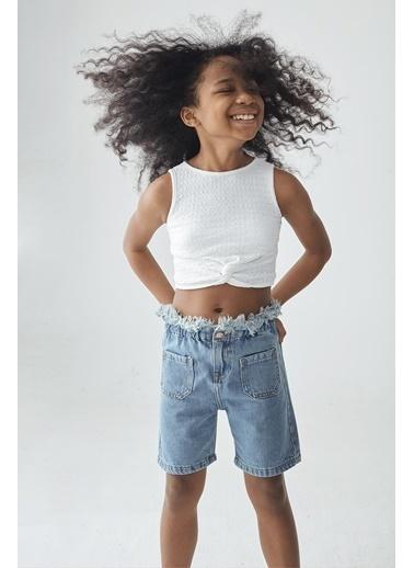 Tyess Kız Çocuk Beyaz Crop T-Shirt Beyaz